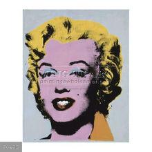 Handmade Andy Warhol pop art painting, Marilyn, 1964 (on light gray-blue-pop art