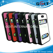 Mobile phone flip cover cases with view window for IPhone 5