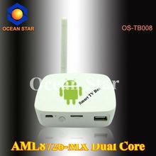 Dual Core google android tv box wireless usb rj45 Internet smart android tv box