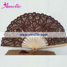 A-Fan076 Cheap price! Battenburg Lace Fan in Brown Color