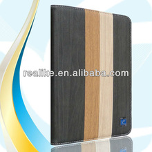For ipad mini wood case,smooth PU leather