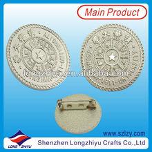 Round Silver Plated Custom Metal Badges For Chinese University,Metal Lapel Pin,Collar Pin Badge