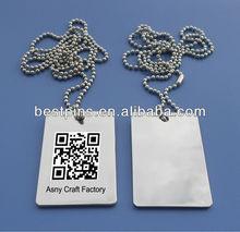 QR barcode metal ID dog tag (BS-JL-DT-13090602)