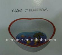 """c3041 7"""" melamine heart bowl"""