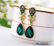 2014 fahsion blue heart shaped earrings, gold heart shaped earrings