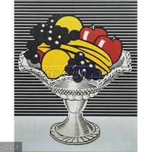 Handmade Roy Lichtenstein pop art painting, Still Life with Crystal Bowl
