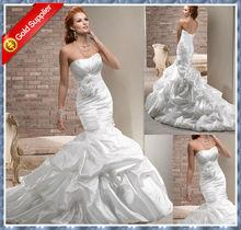 2014 New Sweetheart Mermaid taffeta hand made flower wedding gown M-W016