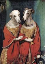 dame dog the series of animal head on human body 2013 new design handmade oil painting