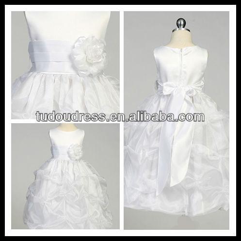 SF123 2013 Fashion Cute Short Sleeve Ball Gown Handmade Flower Bow Sash Ruffles New Style Jewel  ...