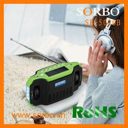 Crank Digital Solar Emergency Charger EMC with FM/AM Mini Radio Flashlight