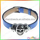 B014187 blue leather skull and crossbone bracelet for men