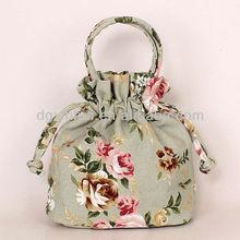 2014 Fashion korean drwastring lady vintage sweet canvas clutch bag