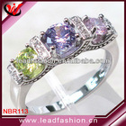 925 Sterling Silver Colorful Three Stone Ring