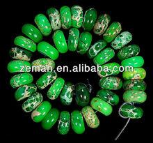 Natural Stone Magenta Sea Sediment Jasper Gemstone Rondelle Beads Green color