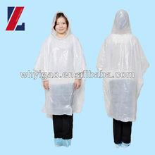 time use emergency plastic raincoat/PE rain coat