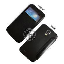 Good Quality Super Slim PU Leather Flip Case Cover Lichi Skin Surface For Samsung Galaxy S4 I9500 With Screen Cut U1611-103