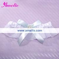 AG26A White and gray wedding bridal garter