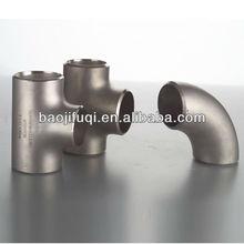 Gr2 butt welding titanium pipe branch tee fitting