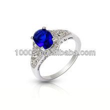 Anillo de plata de la manera con brillante piedra azul para compromiso
