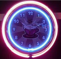 Modern plastic neon wall clock