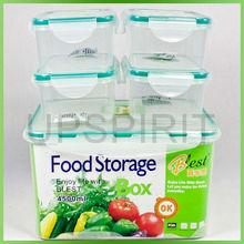 Wholesale airtight 5pcs/set 4.5L/0.55L food grade clear plastic microwave vacuum vegetable food crisper box with seal lids