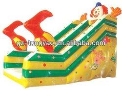 children funny multicolor combo clown inflatable slides