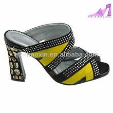 Ladies fashion high heel open toe sandals /CZ diamond/scale pattern heels/mule(1632B-3)