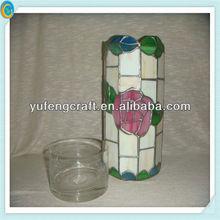mosaic beautiful glass rose image candle jars wholesale