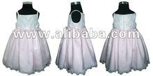 Satin/soft tulle spaghetti dress w/lace - white/pink