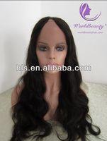 Fashionable U/V part hair wig 20'' natural color Malaysian hair
