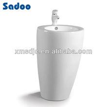 One piece ceramic pedestal basin