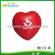 Customed Imprinted heart pu foam sponge squeeze reliever anti stress ball
