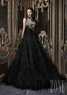 LBN-062 Middle East Lebanese Designer Rami Kadi's Black Designer Evening Dress Patterns