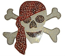 Wall skull of glass mosaic