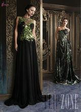 LBN-068 Arabic Lebanese Designer Rami Kadi's Black Flowy Chiffon Evening Dress With Green Accents