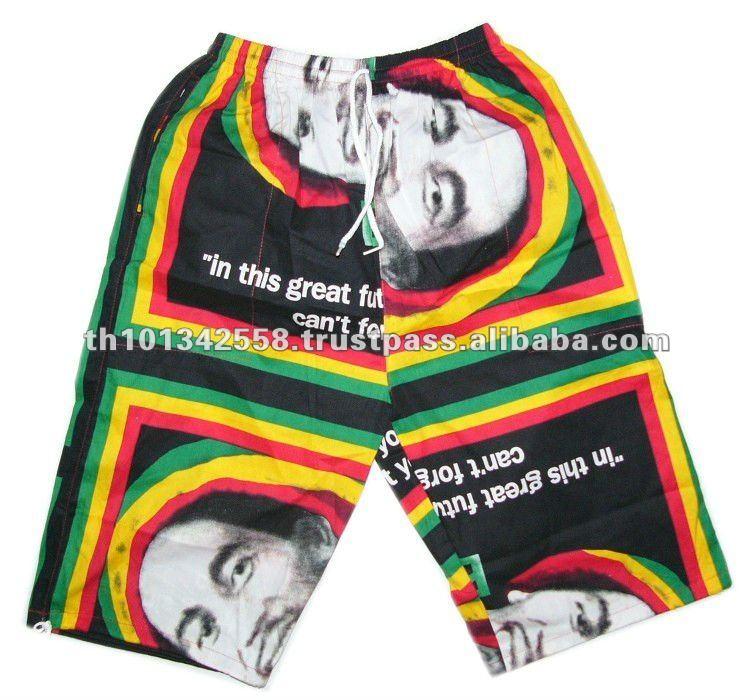 Bob marley pantalones cortos. Pantalones cortos rasta. Pantalones cortos de reggae.