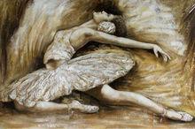 Handmade ballet dancing woman painting oil