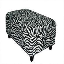 Zebra Stripe Fabric Long Benches with Storage