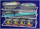 Powder Coated Dish rack Large Two Shelf Organizer, White