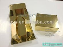 metallic gold shine folding box for shoes packaging