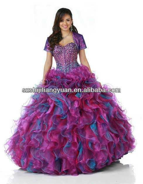 SJ1353 sweetheart organza ball gown crystal bead with short sleeve jacket purple and blue prom dress
