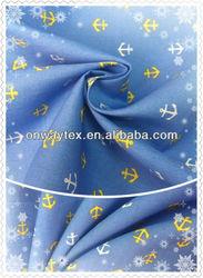 100% cotton poplin anchor/forest print poplin girl's shirt fabric, japanese style