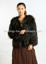 2013 latest black short fur coat/women knitted raccoon fur coat