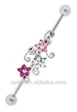 316L Surgical Steel industrial Barbell with Pink and Clear Crystal Flower Twist Center, body jewelry piercing
