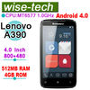 4.0 inch touch screen cell phone Lenovo A390 phone MT6577 Dual Core Android 4.0 ram512 +rom4gb GPS WCDMA 3G WIFI Bluetooth
