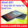 Ainol AX1 MTK8389 Quad Core 7 Inch Multi-touch Screen Dual SIM Card 1GB RAM Bluetooth HDMI Android 4.2 GPS Tablet PC