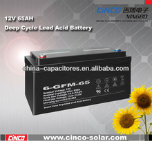 portable solar battery powered outlet,12V 65AH Deep Cycle Lead Acid Battery,for solar power system