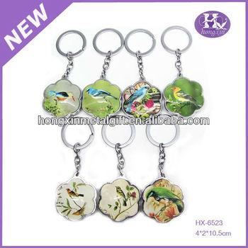 HX-6523 Wholesale cute birds custom glass key rings fobs