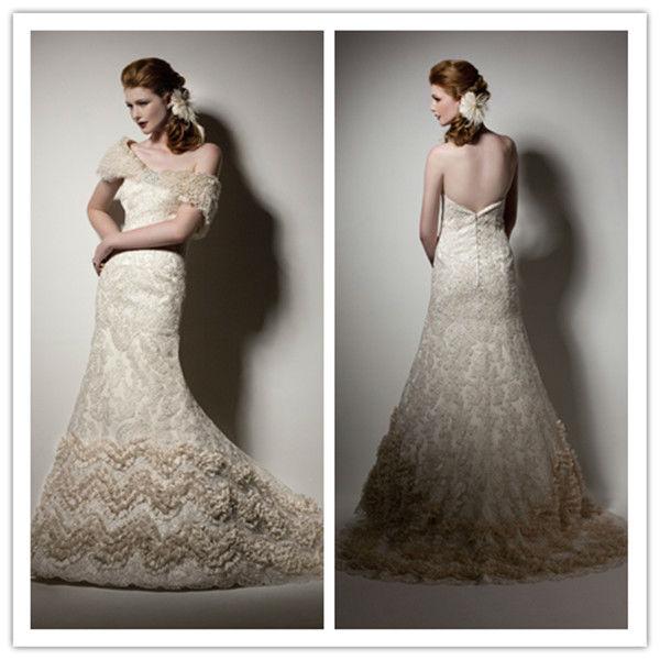 W0163 Mermaid Sweetheart Lace Ruffles Sashes Detachable Bolero Jacket Chapel Train Champagne Wed ...