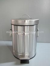 Galvanized Pedal bin with Roma pole, step bin with Roma Pole, Waste can with Roma Pole